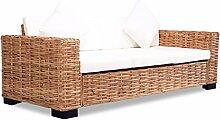 vidaXL Sofa 3-Sitzer Natürliches Rattan Sessel