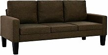 vidaXL Sofa 3-Sitzer Stoff Braun Polstersofa Couch