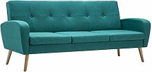 vidaXL Sofa 3-Sitzer Stoff Grün Polstersofa Couch