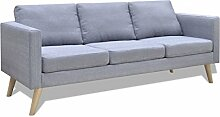 vidaXL Sofa 3 Sitzer Stoff Hellgrau Lounge
