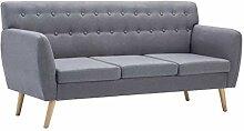 vidaXL Sofa 3-Sitzer Stoff Hellgrau Polstersofa