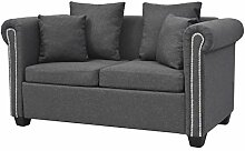 vidaXL Sofa Design 2-Sitzer Stoff Dunkelgrau Couch