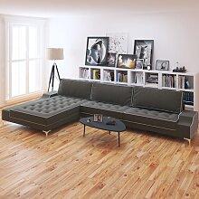 vidaXL Sofa in L-Form Retro Stoff Dunkelgrau XXL