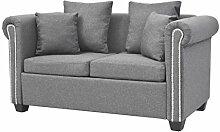 vidaXL Sofa Luxus Design 2-Sitzer Stoff Hellgrau