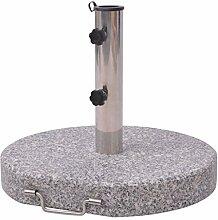 vidaXL Sonnenschirmhalter Schirmständer Granitständer rund Granit 30kg mit Griff
