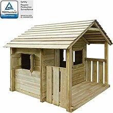 vidaXL Spielhaus mit 3 Fenstern 204 x 184 cm Holz