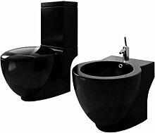 vidaXL Stand-Toilette/WC mit SoftClose WC Sitz +Standbidet Bidet Keramik schwarz