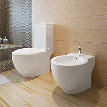 vidaXL Stand-WC & Bidet Set Weiß Keramik