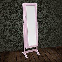 vidaXL Standspiegel Schmuckkasten Spiegel Schmuckschrank Spiegelschrank pink Schmuck