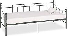 vidaXL Tagesbett-Rahmen Grau Metall 90×200 cm