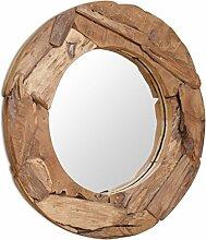 vidaXL Teak Dekorativer Spiegel 80cm Holzspiegel