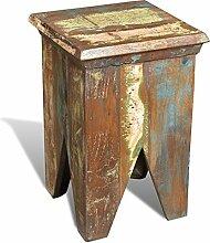vidaXL Teak Massivholz Antik Sitzhocker Vintage Ablage Sitzwürfel Landhaus Stuhl
