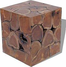 vidaXL Teak Massivholz Sitzhocker Hocker Fußhocker Beistelltisch 40x40x45cm Holz