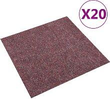 vidaXL Teppichfliesen 20 Stk. 5 m² Dunkelrot