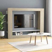 vidaXL TV-Schrank Weiß Sonoma-Eiche 152x22x113 cm