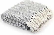 vidaXL Überwurf Baumwolle Fischgrätmuster