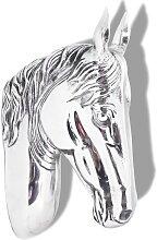 vidaXL Wanddekoration Pferdekopf Silbern Aluminium