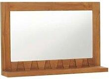 vidaXL Wandspiegel mit Regal 60×12×40 cm Teak