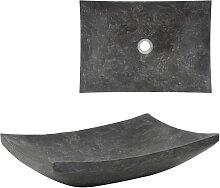 vidaXL Waschbecken 50×35×12 cm Marmor Schwarz