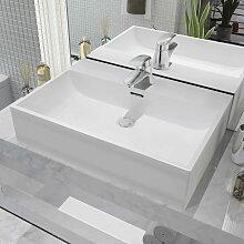 vidaXL Waschbecken mit Hahnloch Keramik Weiß 60,5