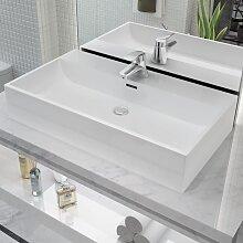 vidaXL Waschbecken mit Hahnloch Keramik Weiß 76 x