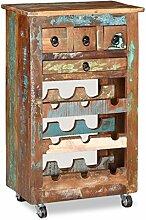 vidaXL Weinregal für 9 Flaschen Recyceltes Holz