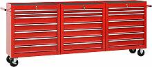 vidaXL Werkzeugwagen mit 21 Schubladen Stahl Rot
