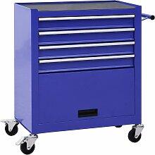 vidaXL Werkzeugwagen mit 4 Schubladen Stahl Blau