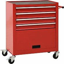 vidaXL Werkzeugwagen mit 4 Schubladen Stahl Rot