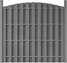 vidaXL WPC Gartenzaun Sichtschutzzaun Windschutz Zaun mit Pfostenträger rund Grau