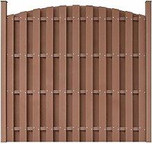 vidaXL WPC Gartenzaun Sichtschutzzaun Windschutz Zaun mit Pfostenträger rund Braun