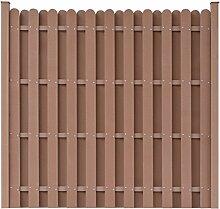 vidaXL WPC Gartenzaun Sichtschutzzaun Windschutz Zaun + Pfostenträger quadratisch Braun