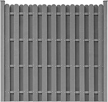 vidaXL WPC Gartenzaun Sichtschutzzaun Windschutz Zaun + Pfostenträger quadratisch Grau