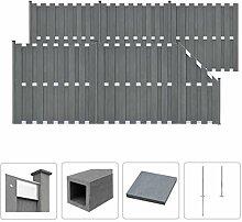 vidaXL WPC Zaun Set 1028x185cm Grau