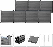vidaXL WPC Zaun Set 1227x187cm Grau