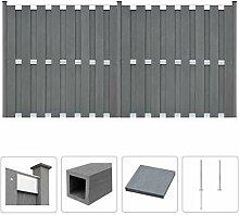 vidaXL WPC Zaun Set 376x185cm Grau Sichtschutzzaun