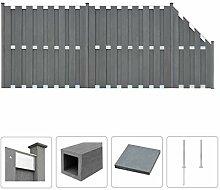 vidaXL WPC Zaun Set 472x185cm Grau Sichtschutzzaun