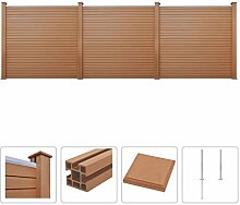 vidaXL WPC Zaun Set 531x187cm Braun