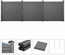 vidaXL WPC Zaun Set 531x187cm Grau Sichtschutzzaun