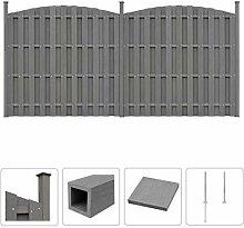 vidaXL Zaun Set WPC 376x(165-185) cm Grau