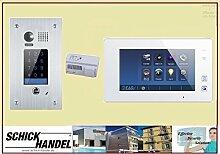 Video Türsprechanlage Türklingel DT601F/KP Sensor Zahlencode-Eingabefeld für Türöffner & T47M Videospeicher Monitor kapazitiver Touch 1 Sprechanlagen Monitor weiß
