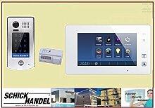Video Türsprechanlage Türklingel DT601S/KP Aufputz Sensor Zahlencode-Eingabefeld für Türöffner & T47M Videospeicher Monitor kapazitiver Touch 1 Sprechanlagen Monitor weiß