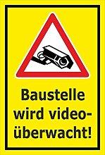 Video-Überwachung Aufkleber - Baustelle - 60x40cm