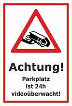 Video-Überwachung Aufkleber - Parkplatz 24h -