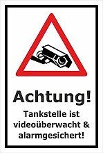 Video-Überwachung Aufkleber - Tankstelle -
