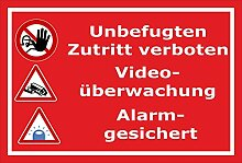 Video-Überwachung Aufkleber - Zutritt verboten -