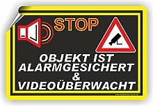 VIDEOÜBERWACHUNG videoüberwacht - SCHILD / D-003 (60x40cm Aufkleber)