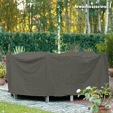 Videx-Gartenmöbel-Schutzhülle für runde Tischgruppe, taupe, Ø 200 cm, Hohe: 80cm