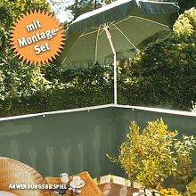 Videx-PE-Balkon-Bespannung Classic, grün mit 25 Befestigungsschlaufen, 90 x 500cm