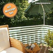 Videx-PE-Balkon-Bespannung Classic, grün/weiß mit 25 Befestigungsschlaufen, 90 x 500cm